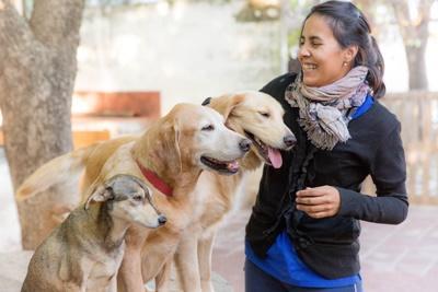 Instruktør og hunder på hundeterapiprosjekt