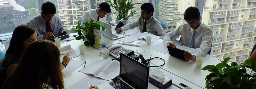 En gruppe av Projects Abroad-frivillige deltar på businessprosjektet i Shanghai i Kina