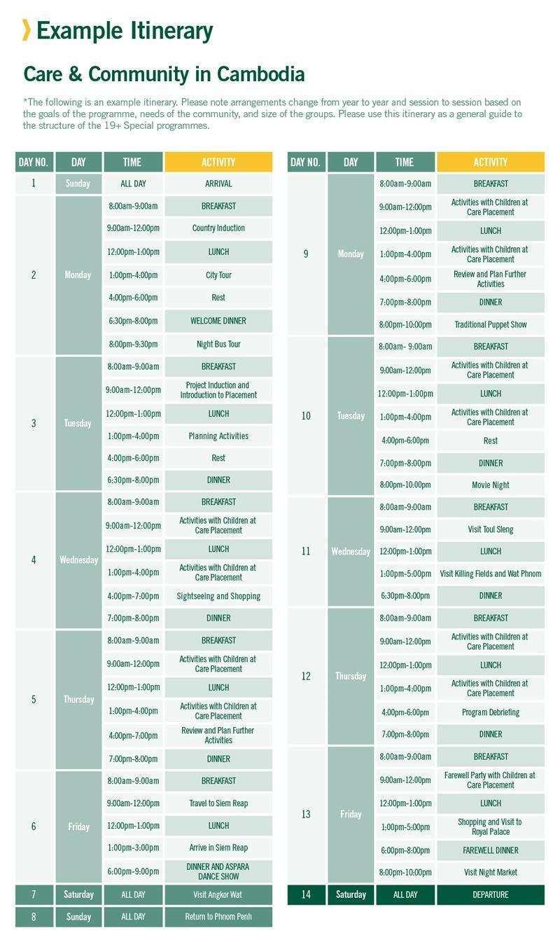 19+ sample schedule for Care in Kambodsja 2 Weeks