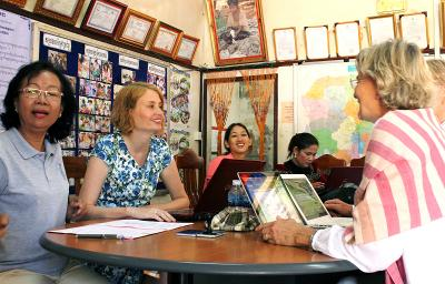 Microfinance volunteers with project participants in Cambodia, Southeast Asia.