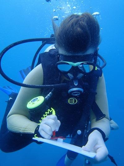 Kvinnelig frivillig som tar forskningsnotater under et dykk på natur- og miljøprosjektet på Fiji