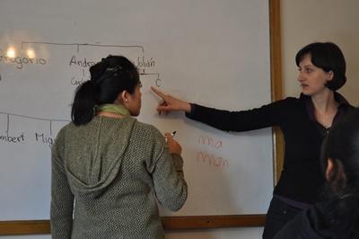 Frivillig på undervisningsprosjektet leder en time på et universitet i Bolivia