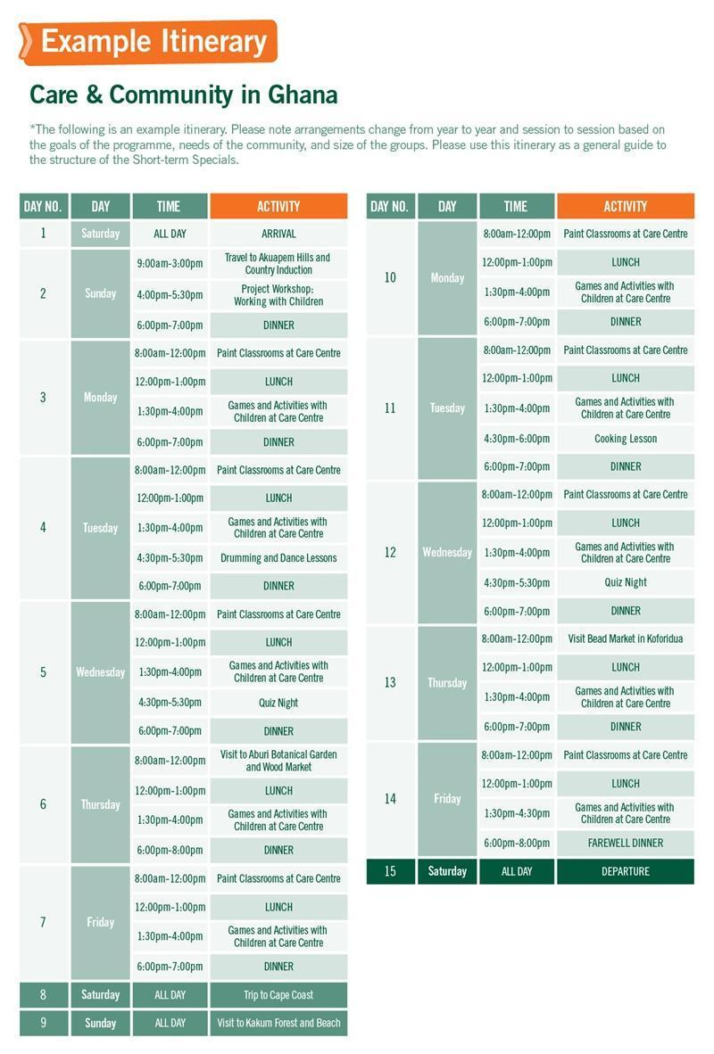 High School Special sample schedule for Care in Ghana 2 Weeks