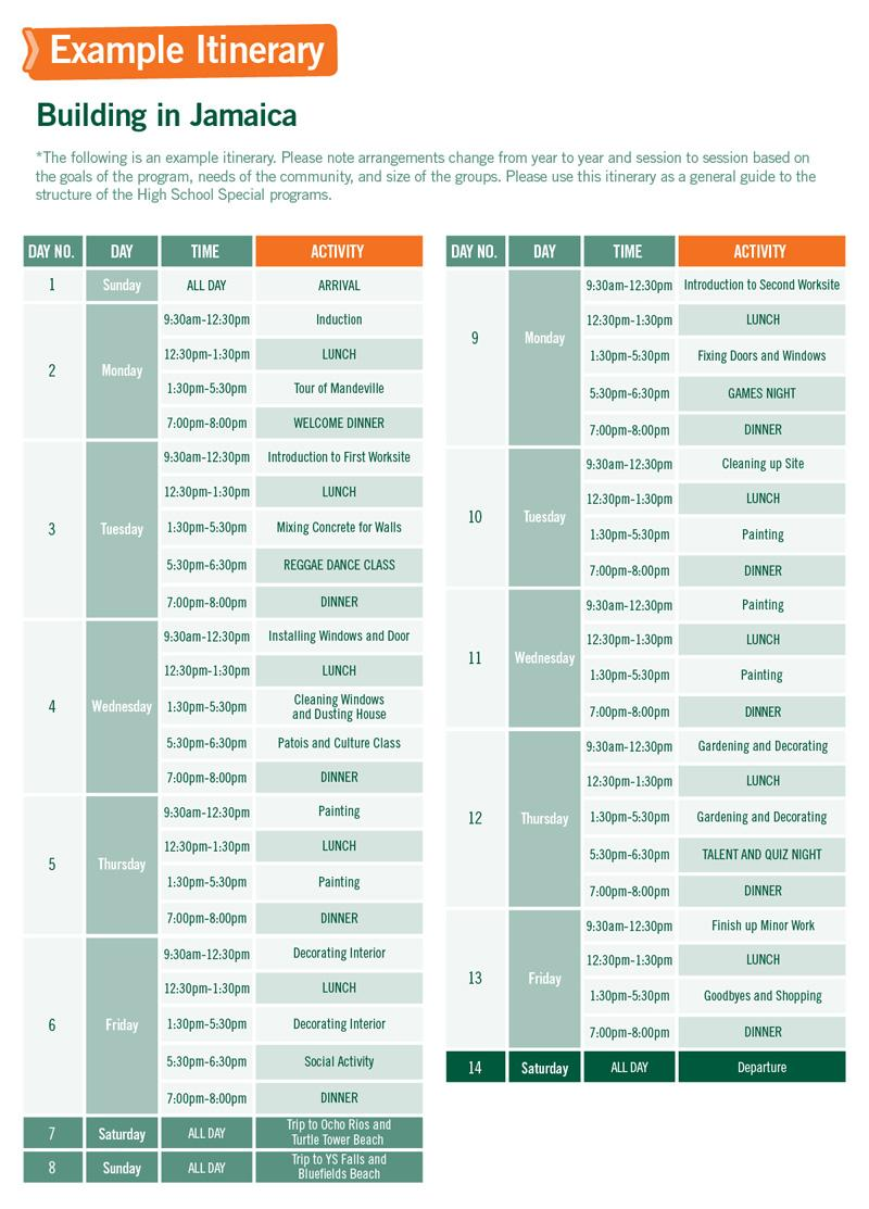 High School Special sample schedule for Building in Jamaica