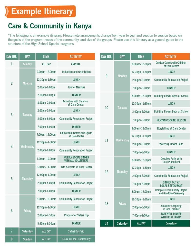 High School Special sample schedule for Care & Community in Kenya 2 Weeks