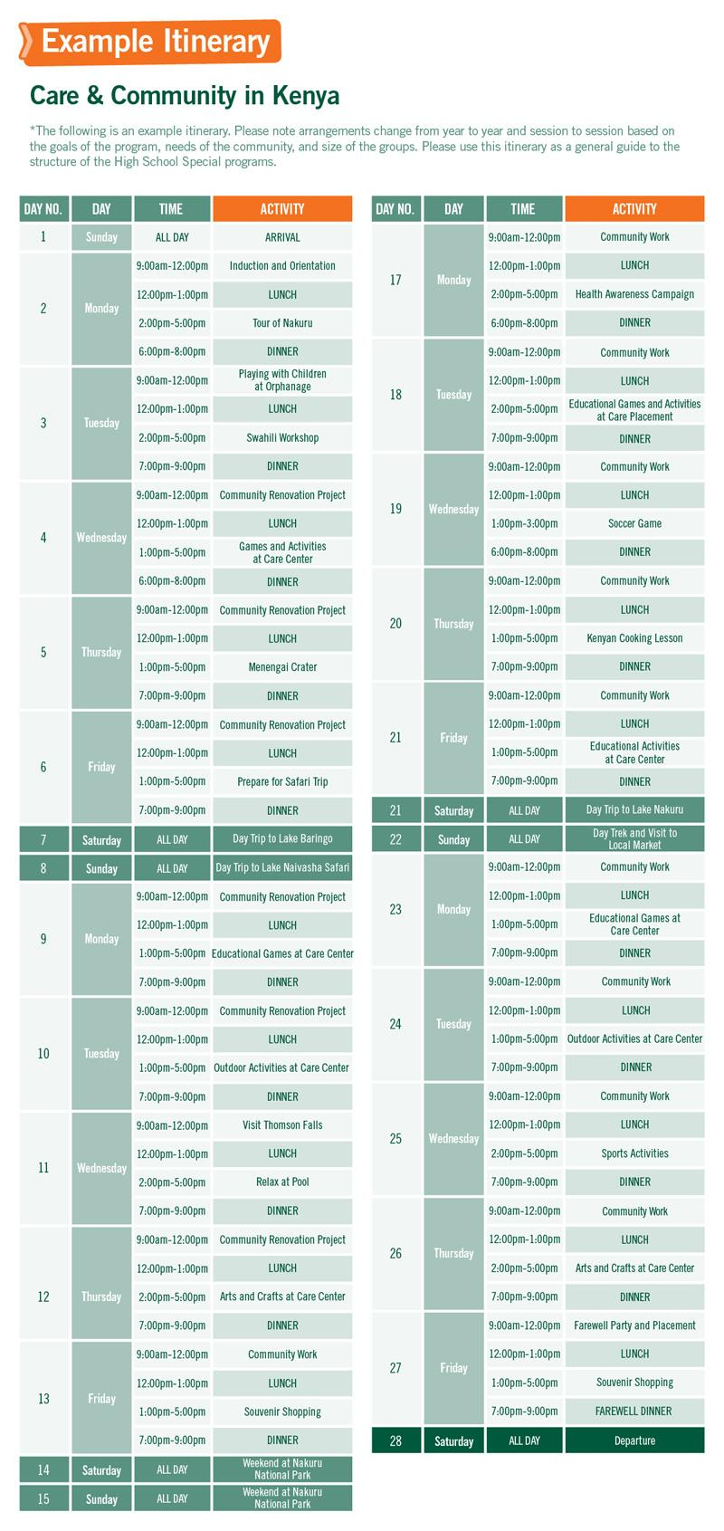 High School Special sample schedule for Care & Community in Kenya 4 Weeks