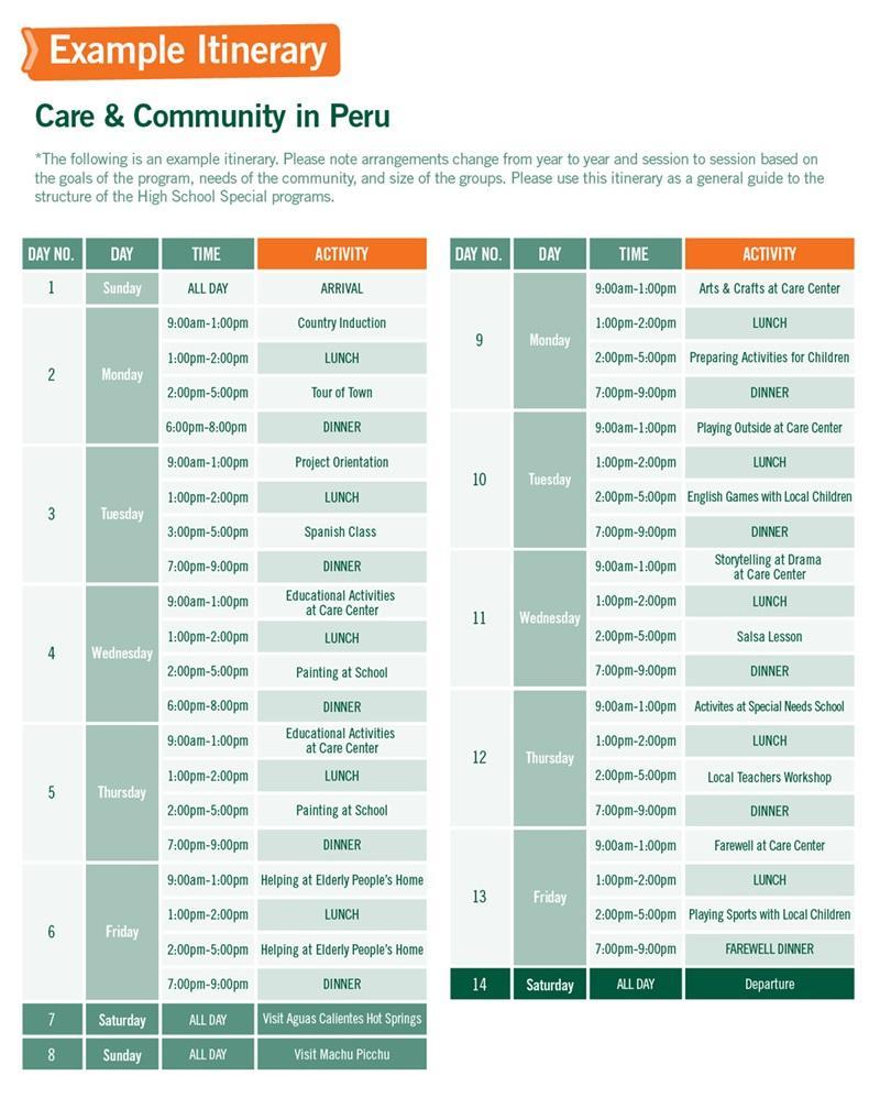 h School Special sample schedule for Care & Community in Peru