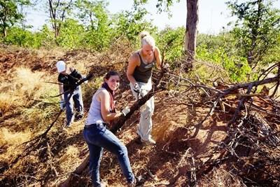 Ungdomsfrivillige på opprydningsarbeid på natur- og miljøprosjektet i Sør-Afrika