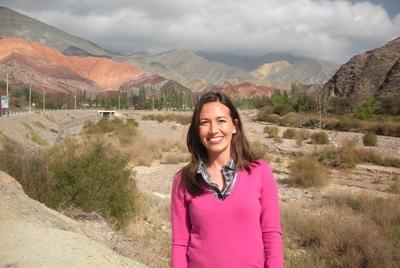 Frivillig jente på reise under sitt prosjektopphold i Argentina, Sør-Amerika