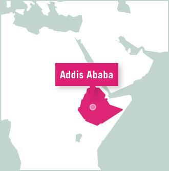 Kart over vår destinasjon for frivillige prosjekter i Etiopia, Afrika