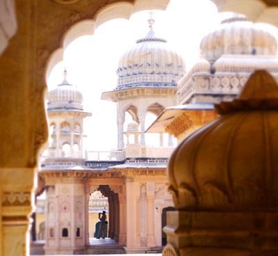 Det vakre Galtaji-tempelet i Jaipur, India