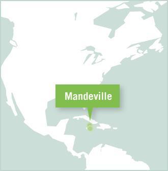 Kart over Projects Abroads prosjektplassering for frivillig arbeid i Mandeville, Jamaica