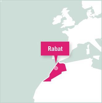 Kart over plassering for frivillig arbeid i Rabat, Marokko