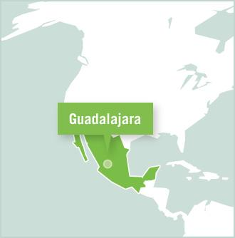 Kart over plassering for frivillige prosjekter i Guadalajara, Mexico med Projects Abroad