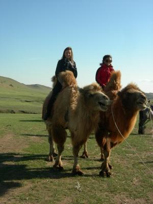 Frivillige som rir på kameler på prosjektet sitt i Mongolia