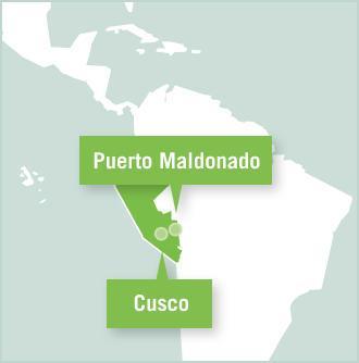 Kart over prosjektplasseringer i Urubamba, Cusco, Huyro og Taricaya i Amazonas, Peru