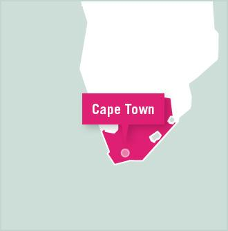 Kart over plassering for frivillig arbeid med Projects Abroad i Cape Town, Sør-Afrika