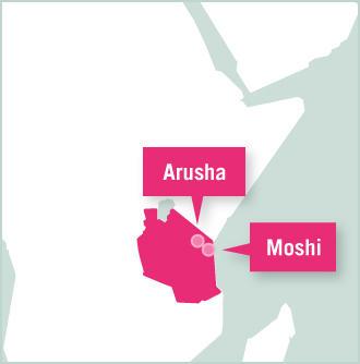 Kart over Projects Abroads destinasjoner, Arusha og Dar es Salaam i Tanzania