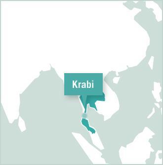 Kart over plassering for frivillige i Krabi, Thailand